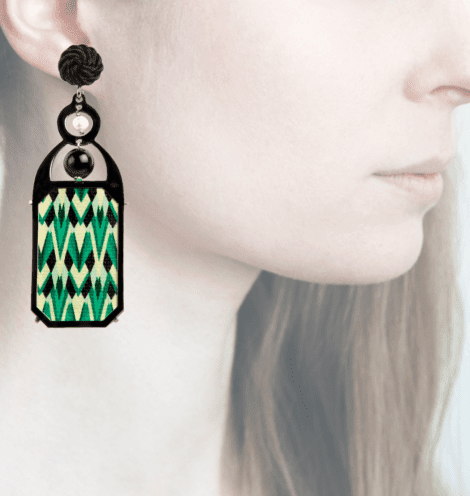 Profile, Anna e Alex, arte miniature, liberty deco,verde, nero, OLD5.