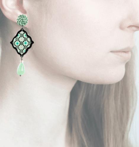Profile, Anna e Alex, arte miniature, minimosaico, verde, OMMS2, retro
