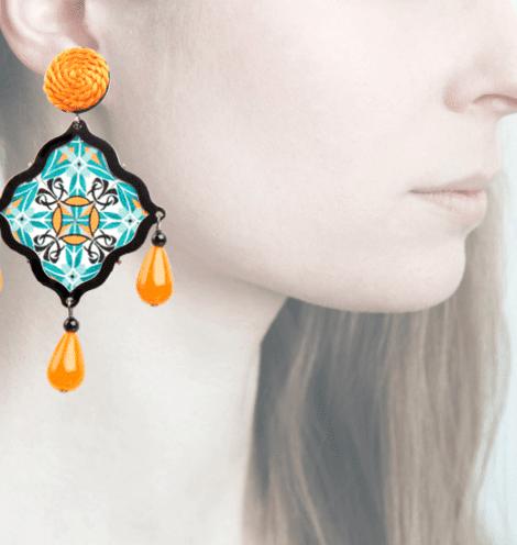 Profile, Arte miniature, mosaico,, arancio, OMS6
