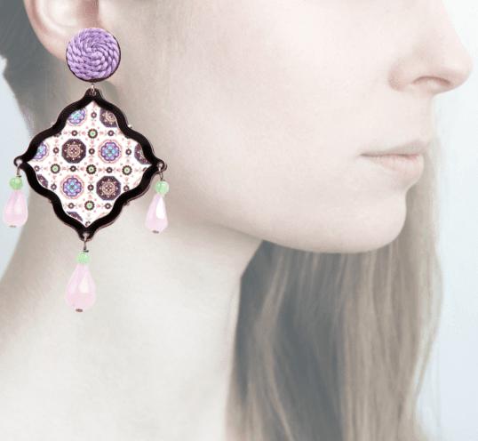 Profile, Arte miniature, mosaico,, arancio, lilla, OMS4