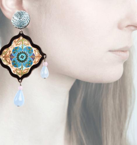 Profile, Arte miniature, mosaico blu, OMS2