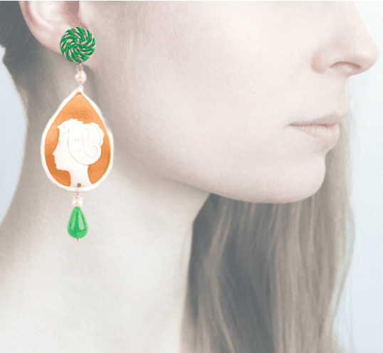 Profile, Cammeo, marina deco, cavallo marino,verde, OCAM16