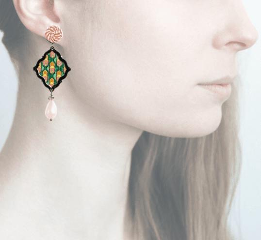 Profile, anna e alex, arte miniature, minimosaico, rosa, verde, OMMS3