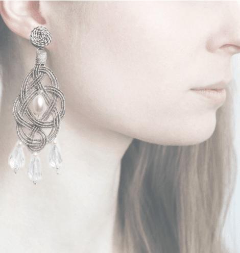 Profile, passamaneria, orecchini ellisse, OELM1