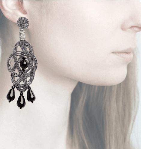 Profile, passamaneria, orecchini ellisse, OELM2