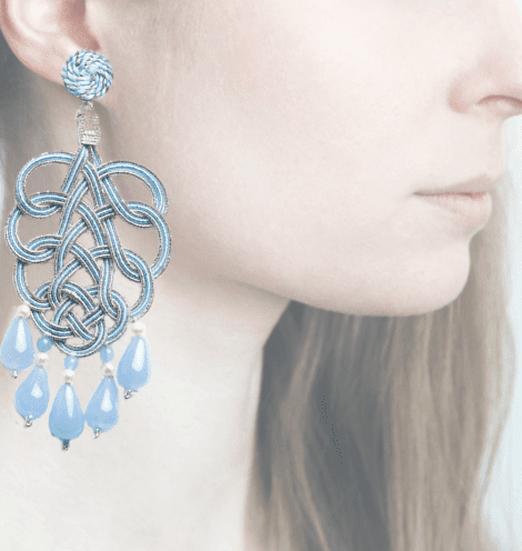 Profile, passamaneria, pavone argento, blu, OPAVM4