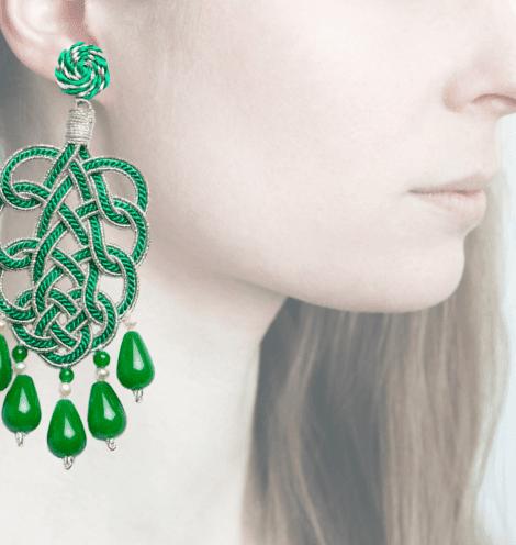 Profile, passamaneria, pavone argento, verde, OPAVM5