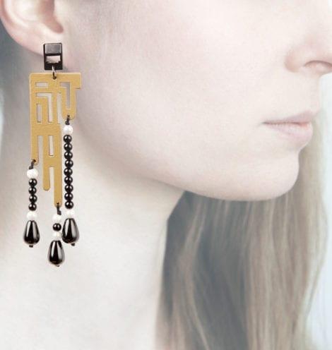 Anna e Alex, orecchini labirinto deco, medio, oro