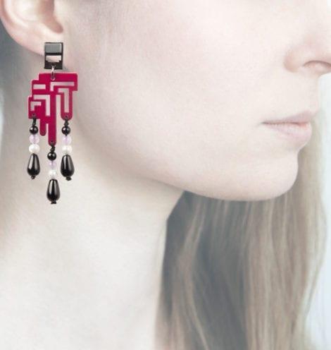 Anna e Alex, orecchini legno, piccolo, lampone
