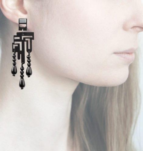 Anna e Alex, orecchini legno, piccolo, nero