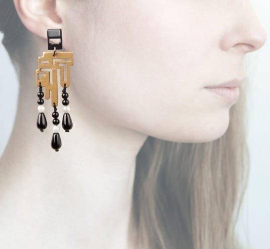 Anna e Alex, orecchini legno, piccolo, oro
