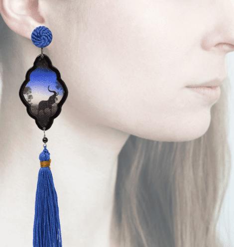 profile, Anna e Alex , Arte Safari Deco collection, elefante, blu, OSAFC3