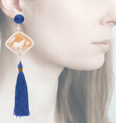 profile, Anna e Alex, Safari Deco collection, cammeo, elefante, blu OCAMSC3