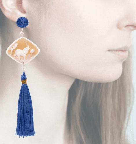 profile, Anna e Alex, Safari Deco collection, cammeo, elefante, blu OCAMSC3