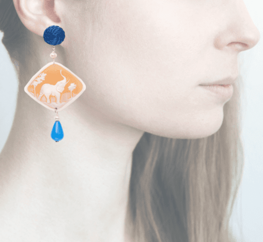 profile, Anna e Alex, Safari Deco collection, cammeo, elefante, blu, OCAMSG3