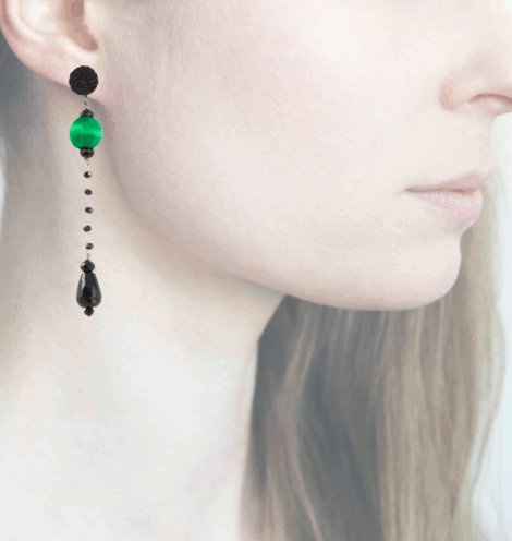 Profile, Anna e Alex, Orecchini Drop, Verde, OCRNERO1