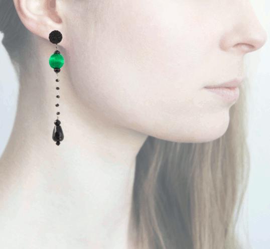 Profile, Anna e Alex, Orecchini Drop, Verde, OCRNERO1