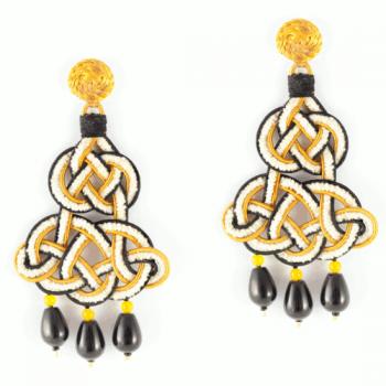 Anna e Alex, passamaneria chenille, chandelier, nero-gardenia-giallo OCHCIN13