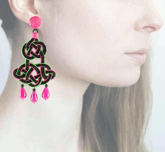 Profile chandelier, fucsia-verde