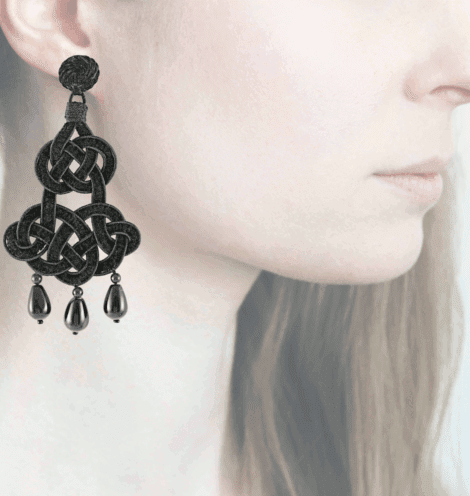 Profile chandelier, nero