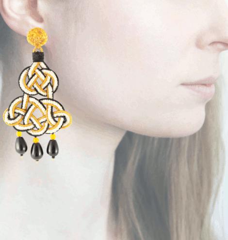 Profile chandelier, nero-giallo