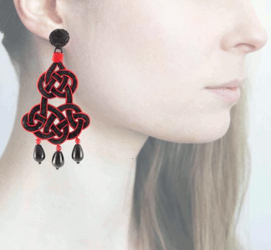 Profile chandelier, rosso-nero