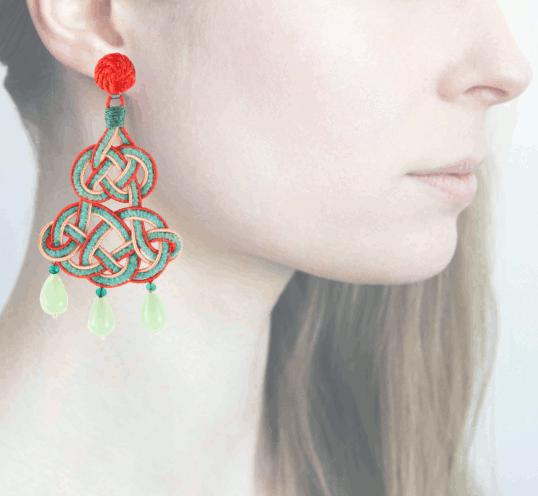 Profile chandelier, verde-arancio
