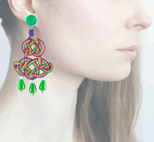 Profile chandelier, verde-viola