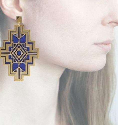 Profilo, Anna e Alex, Geometrie decò, blu, ORGD4