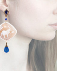 Profile, Anna e Alex, Enamel collection, cammeo, elefante, blu, OCAMSM1