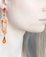 Profile, Anna e Alex, Enamel collection, cammeo, pavone, arancio, OCAMSM3